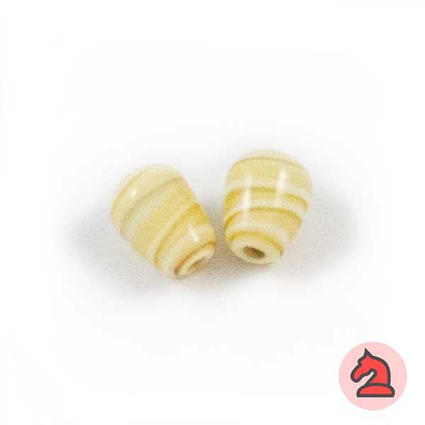 Mini-Tapón Cristal de murano 8 mm. Marfil - Bolsa de 10 unidades | Agujero de 2 mm