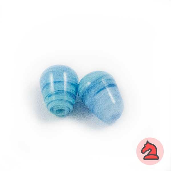Mini-Tapón Cristal de murano 8 mm. Turquesa - Bolsa de 10 unidades | Agujero de 2 mm