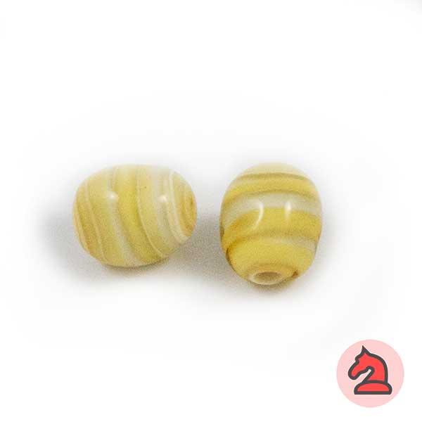 Tapón-irregular Cristal de murano 12 mm. Marfil - Bolsa de 10 unidades | Agujero de 3 mm