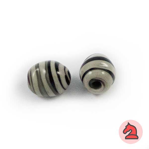 Tapón-irregular Cristal de murano 12 mm. Negro - Bolsa de 10 unidades | Agujero de 3 mm