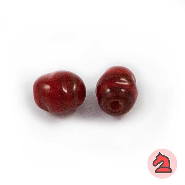 Tapón-irregular Cristal de murano 12 mm. Rojo - Bolsa de 10 unidades | Agujero de 3 mm