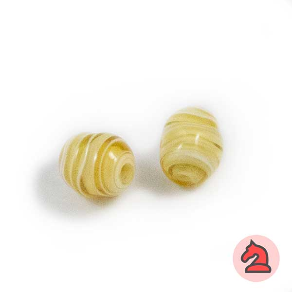 Mini-Tapón-irregular Cristal de murano 8 mm. Marfil - Bolsa de 10 unidades | Agujero de 2 mm