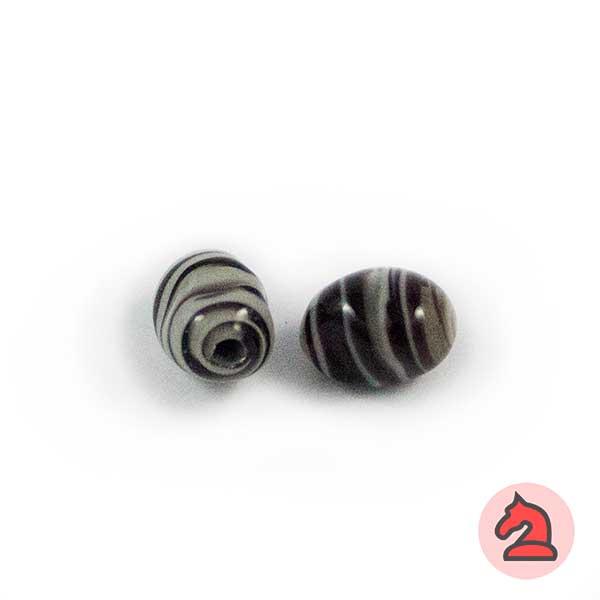 Mini-Tapón-irregular Cristal de murano 8 mm. Negro - Bolsa de 10 unidades | Agujero de 2 mm