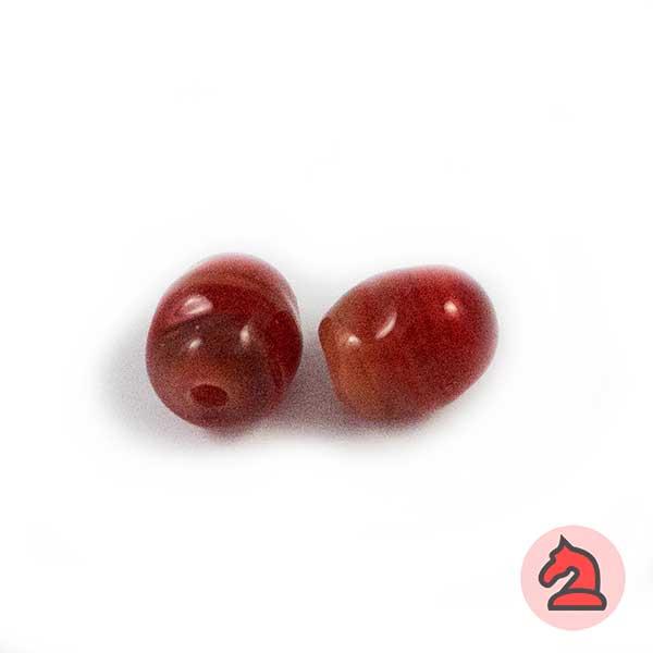 Mini-Tapón-irregular Cristal de murano 8 mm.Rojo - Bolsa de 10 unidades | Agujero de 2 mm