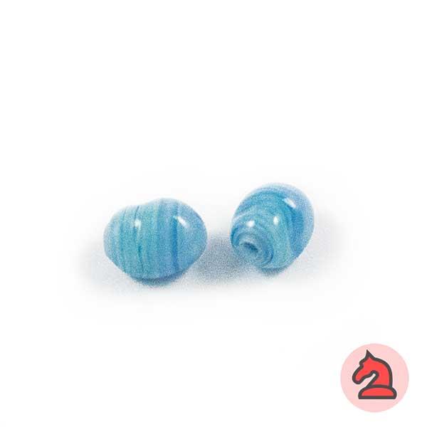 Mini-Tapón-irregular Cristal de murano 8 mm. Turquesa - Bolsa de 10 unidades | Agujero de 2 mm
