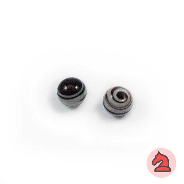 Mini-Tapón-bola cristal de murano 8 mm. Negro - Bolsa de 10 unidades | Agujero de 2 mm