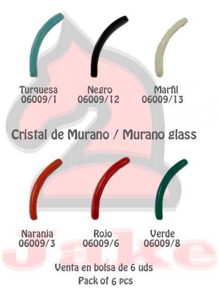 Cristal de murano barra plana curvada - Venta en bolsa de 6 uds. Disponible en 6 colores. Tamaño 33X8 mm, grosor 4mm aprox.