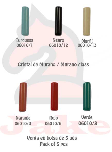 Cristal de murano barra cilíndrica - Venta en bolsa de 5 uds. Disponible en 6 colores. Tamaño 24X6 mm