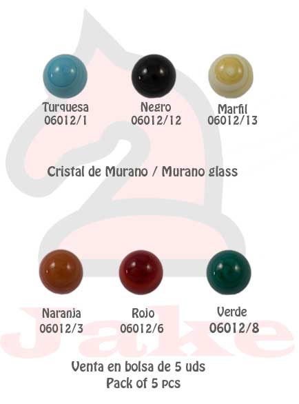 Cristal de murano bola 16mm - Venta en bolsa de 5 uds. Disponible en 6 colores. Tamaño 16 mm