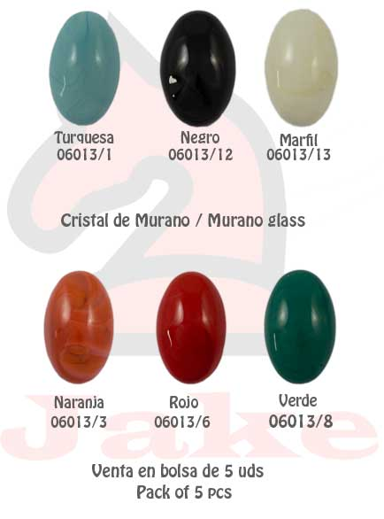 Cristal de murano media elipse  - Venta en bolsa de 5 uds. Disponible en 6 colores. Tamaño 36X23X11 mm