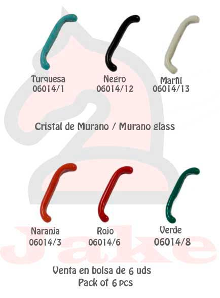 Cristal de murano barra curvada - Venta en bolsa de 5 uds. Disponible en 6 colores. Tamaño 33X5 mm