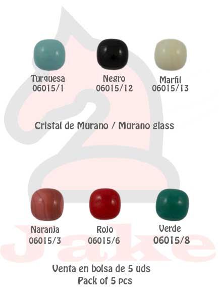 Cristal de murano cuadrado suavizado - Venta en bolsa de 5 uds. Disponible en 6 colores. Tamaño 15 mm