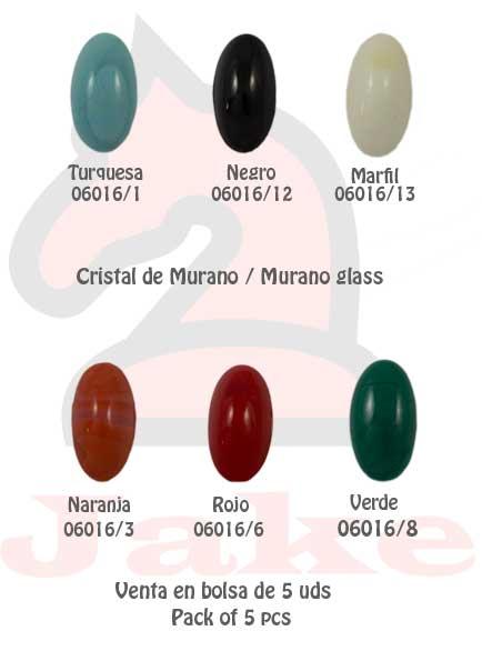 Cristal de murano media elipse pequeña - Venta en bolsa de 5 uds. Disponible en 6 colores. Tamaño 28X16 mm