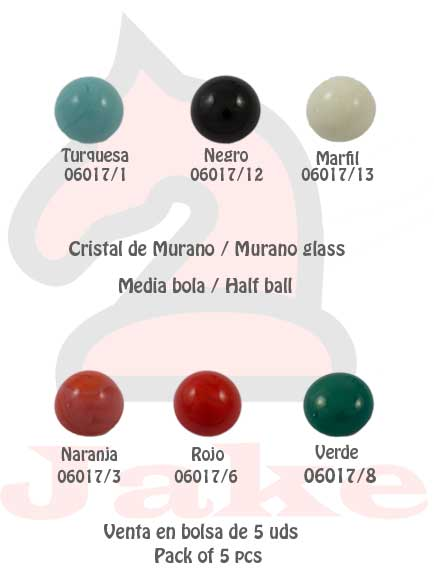 Cristal de murano media bola - Venta en bolsa de 5 uds. Disponible en 6 colores. Tamaño 18X10 mm