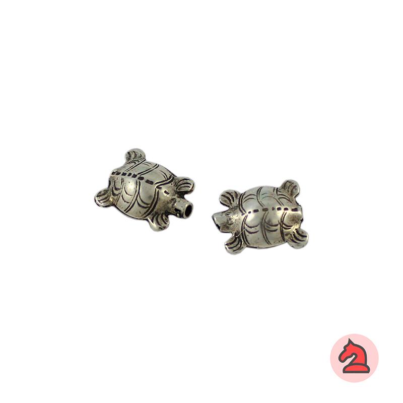 Entrepieza Mascota Tortuga 16X13mm. Paso de 1,5mm. Baño plata - Paquete de 30 unidades