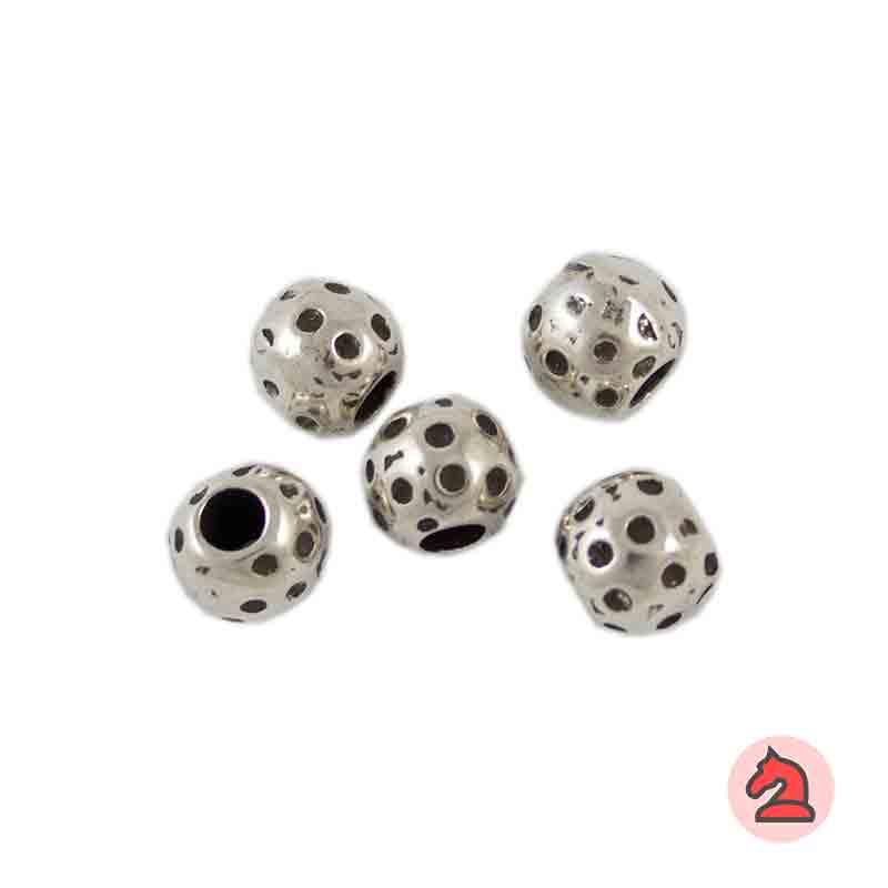 Entrepieza Bola Lunares. 9 mm. Taladro 3,5mm - Paquete de 30 unidades