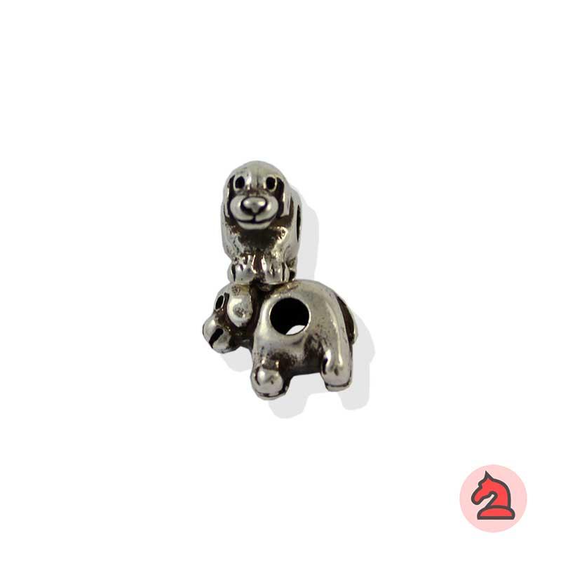 Charm perrito para enfilar - Bolsa de 20udsTamaño aproximado 10X13X7 mm, agujero para cordón 3 mm