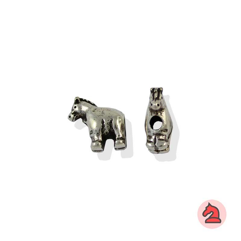 Charm caballo para enfilar - Bolsa de 20udsTamaño aproximado 13X12X6 mm, agujero para cordón de 3 mm