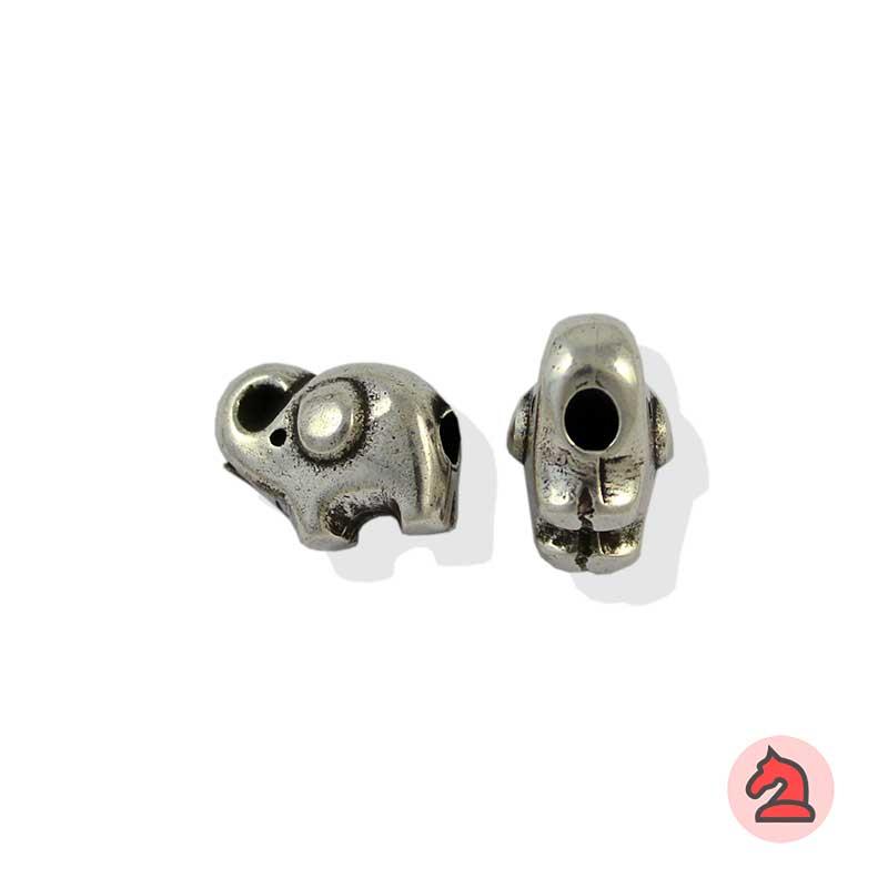 Charm elefante de la suerte para enfilar - Bolsa de 20udsTamaño aproximado 14X10X10 mm, agujero para cordón de 3  mm