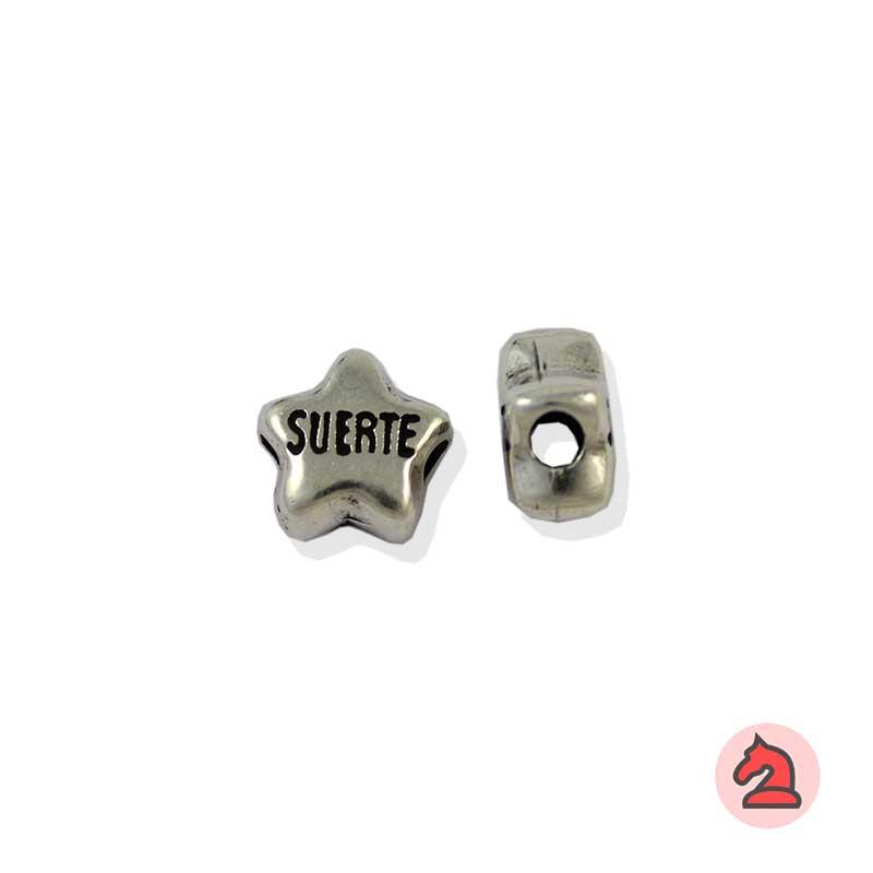 Charm estrella de la suerte para enfilar - Bolsa de 20udsTamaño aproximado 12X7 mm, agujero para cordón de 3 mm