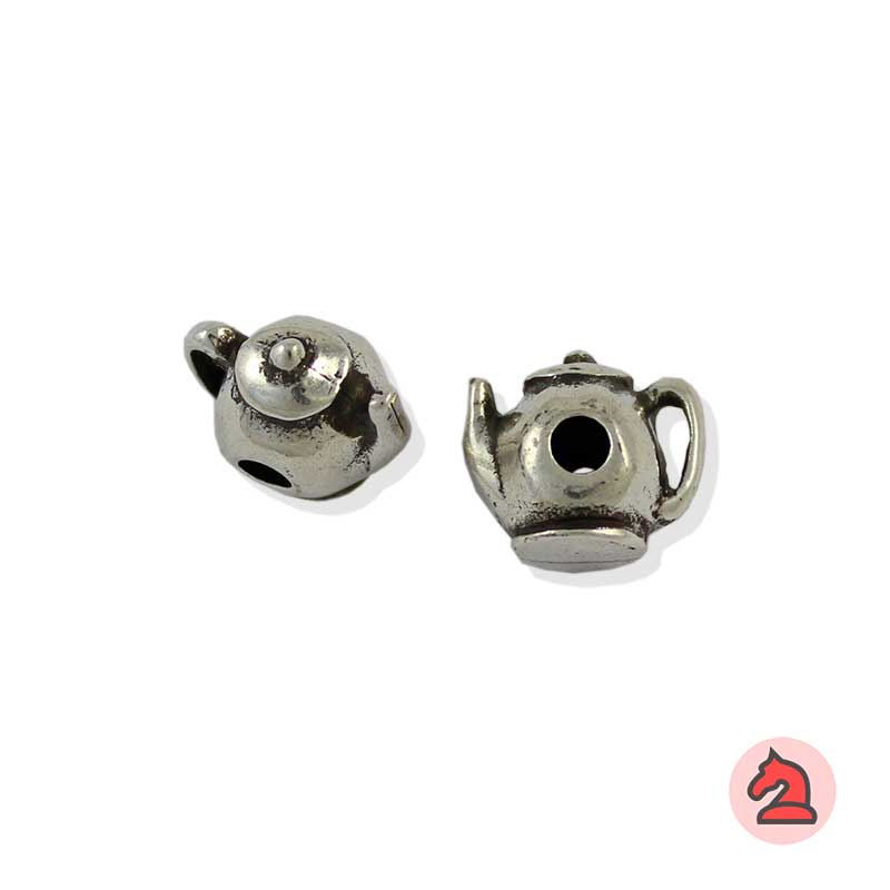Charm tetera para enfilar - Bolsa de 20udsTamaño aproximado 12X10 mm, agujero para cordón de 3 mm