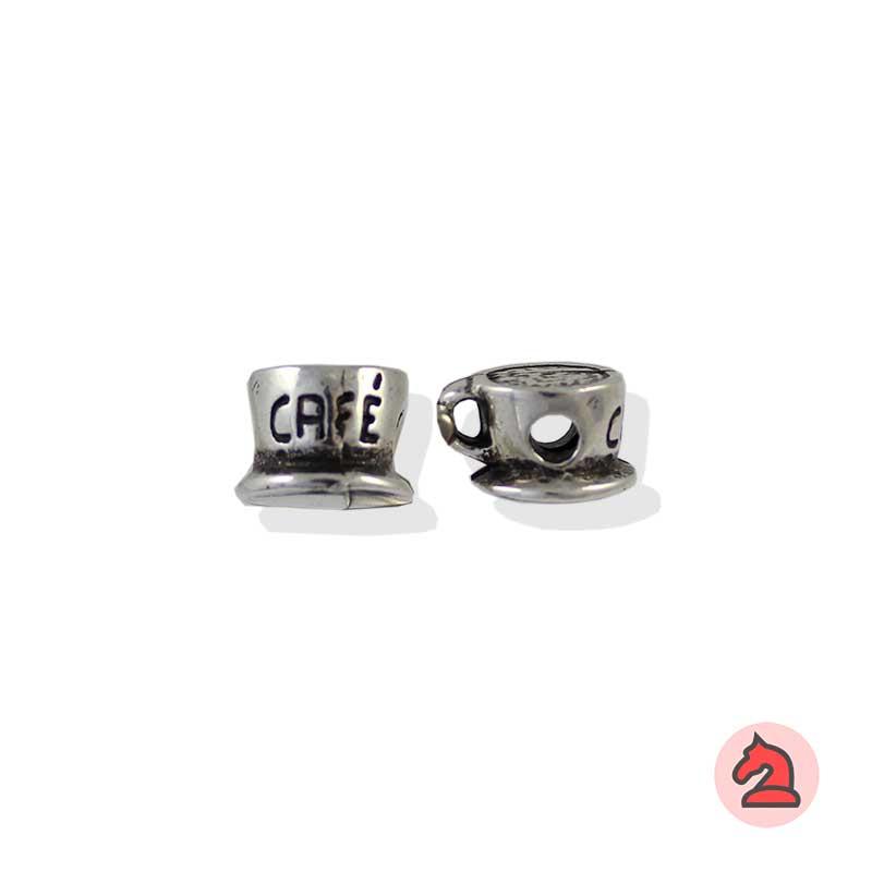 Charm taza de café para enfilar - Bolsa de 20udsTamaño aproximado 10X8 mm, agujero para cordón de 3 mm