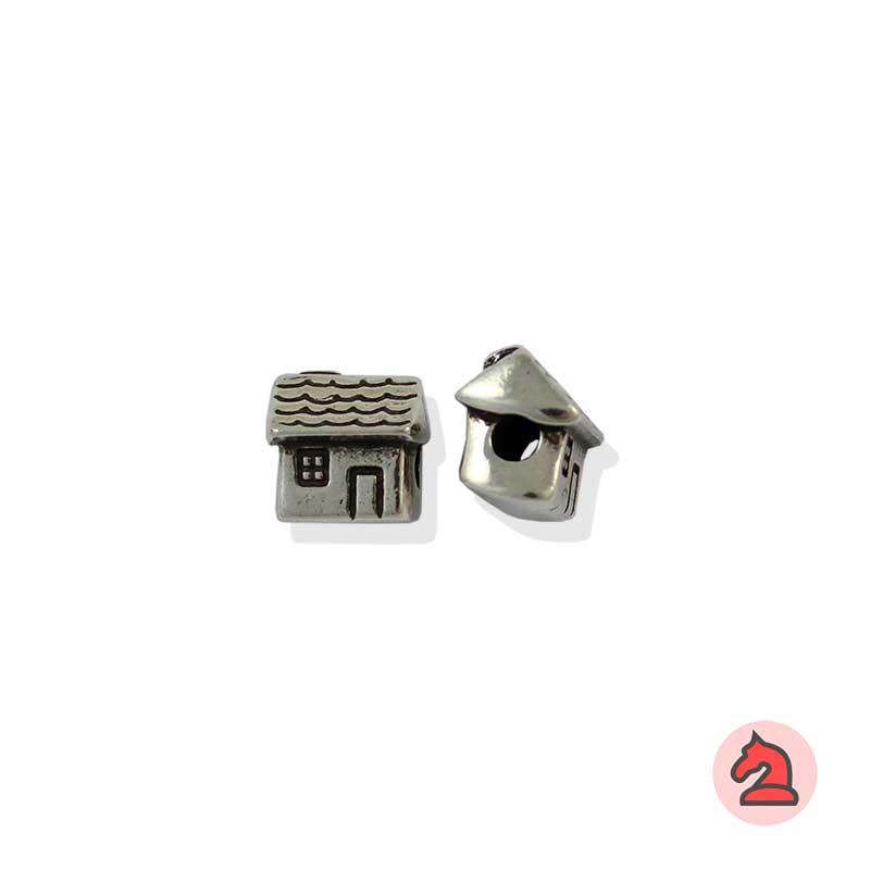 Charm casa para enfilar - Bolsa de 20udsTamaño aproximado 12X12X7 mm, agujero para cordón 3 mm