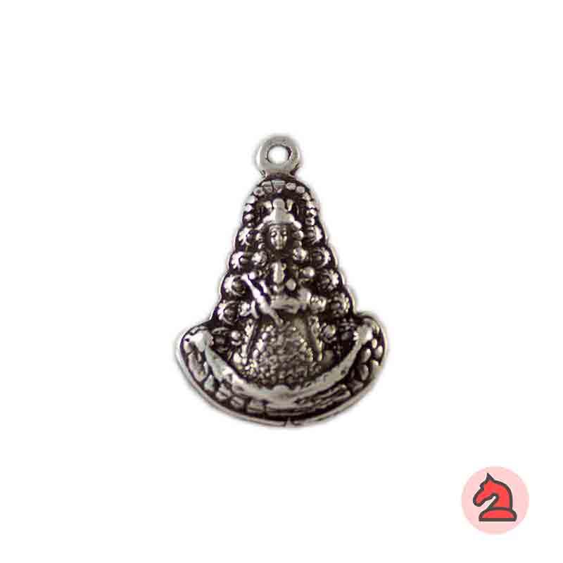 Medalla Virgen del Rocío 27X19mm. Anilla 1,5mm. Baño plata - Paquete de 30 unidades