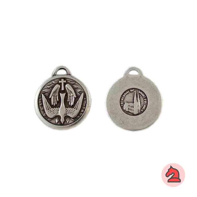 Medalla San Patricio 20mm. Anilla 2,5X1,5 mm. Baño plata - Paquete de 30 unidades