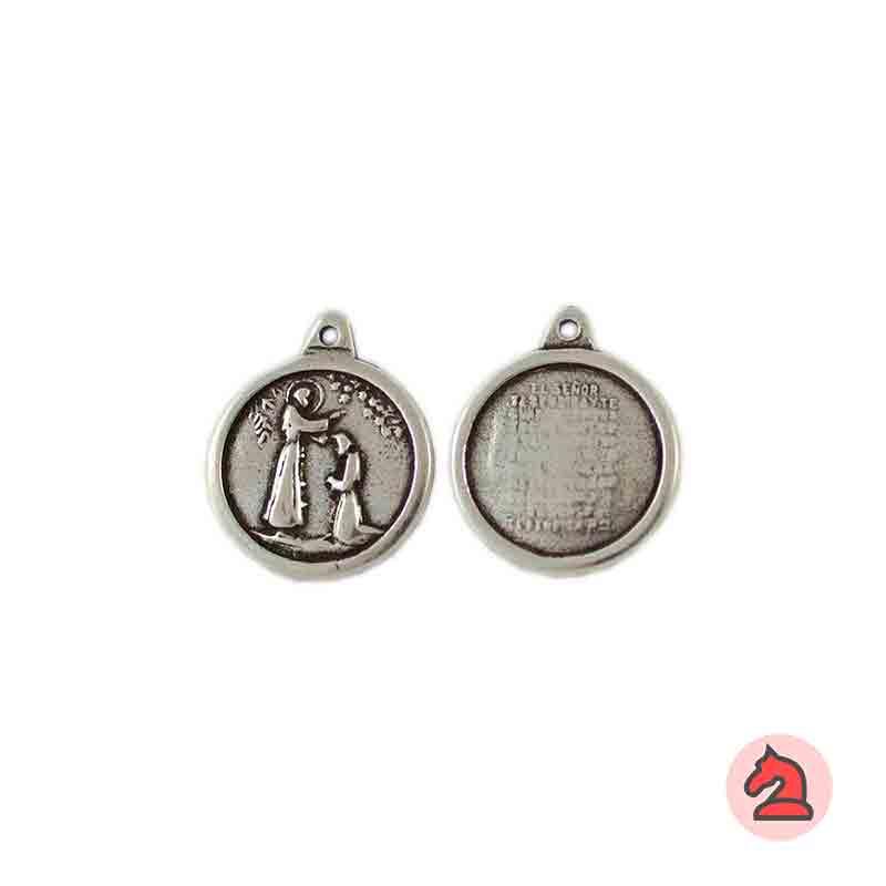 Medalla Bendición 15mm. Anilla 1mm. Baño plata - Paquete de 30 unidades