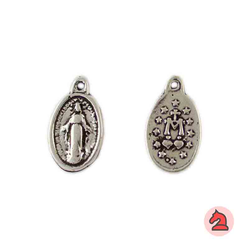 Medalla Virgen María 17X10mm. Anilla 1mm - Paquete de 30 unidades