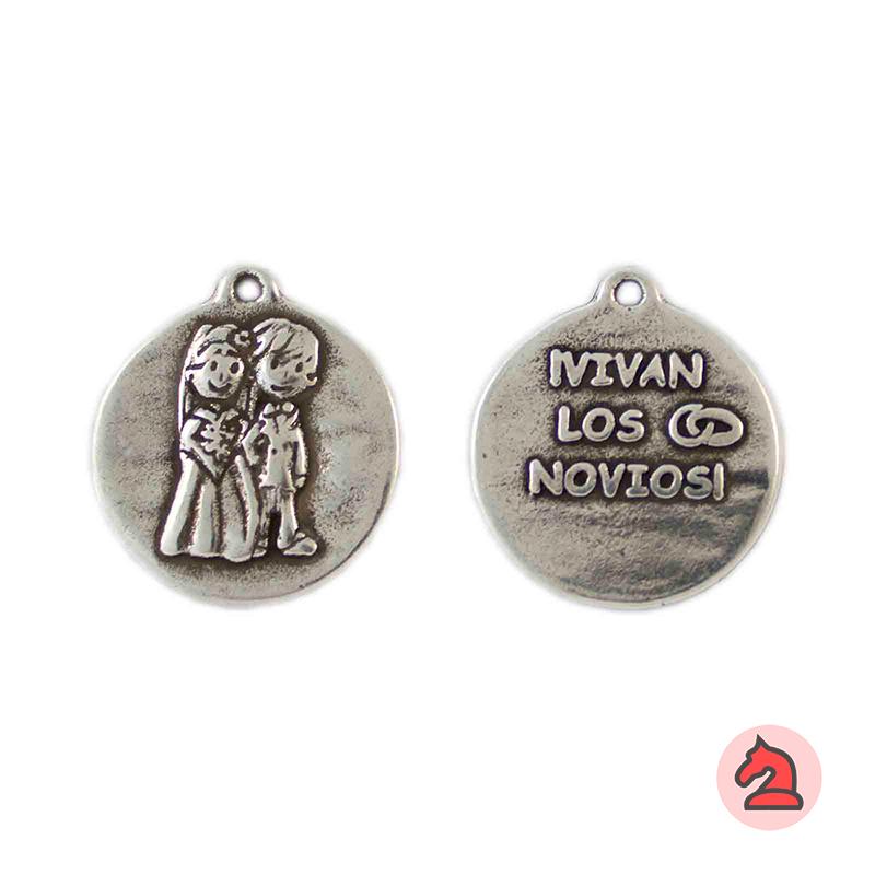 Medalla ¡Vivan los novios! 19mm. Anilla 1mm - Paquete de 30 unidades