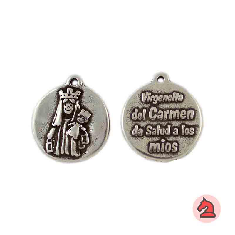 Medalla Virgencita del Carmen 21mm. Anilla 1,5mm - Paquete de 30 unidades