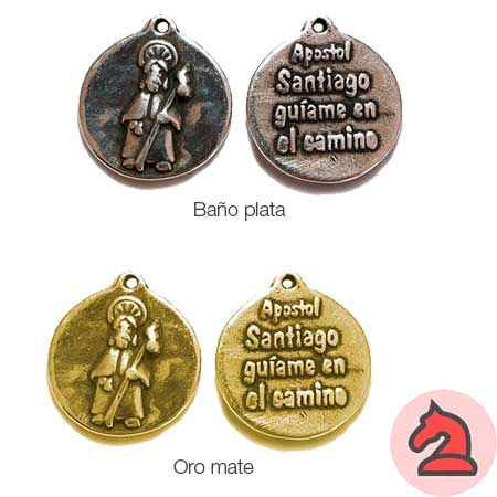 Medalla Santiago, guíame en el camino 21mm. Anilla 1,5mm - Paquete de 30 unidades