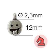 Charms Emoticono Lenguetazo Amistoso - Paquete de 20 unidades Tamaño aproximado 12mm, anilla 2.5mm