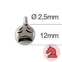 Charms Emoticono desepcionado - Paquete de 20 unidadesTamaño aproximado 12mm, anilla 2.5mm