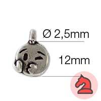 Charms Emoticono beso con amor| Emoticonos - Paquete de 20 unidadesTamaño aproximado 12mm, anilla 2.5mm