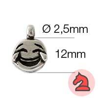 Charms Emoticono feliz - Paquete de 20 unidadesTamaño aproximado 12mm, anilla 2.5mm