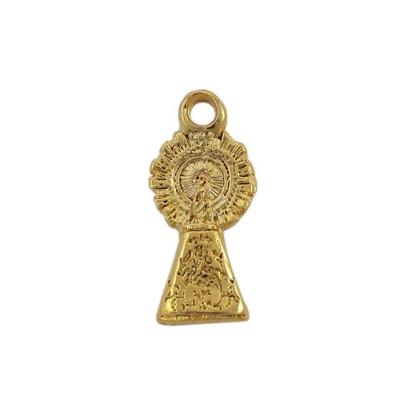 Colgante Señora del Pilar 33X18mm. Anilla 4 mm. Flash de oro - Bolsa de 5 uds