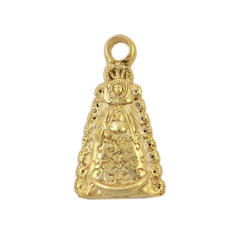 Colgante Virgen del Rocío 33X21mm. Anilla 4 mm. Flash oro - Bolsa de 5 uds