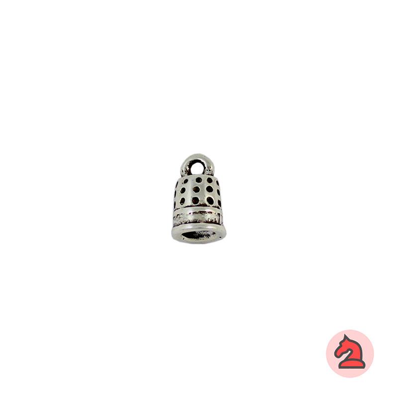 Charm dedal - Bolsa de 30 uds Tamaño aproximado 10X7 mm, anilla de 2 mm