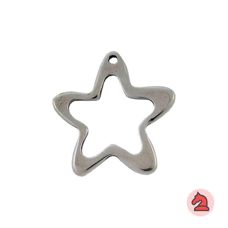 Colgante Estrella grande - Paquete de 10 unidades Tamaño aproximado 40 mm, agujero 2.5 mm