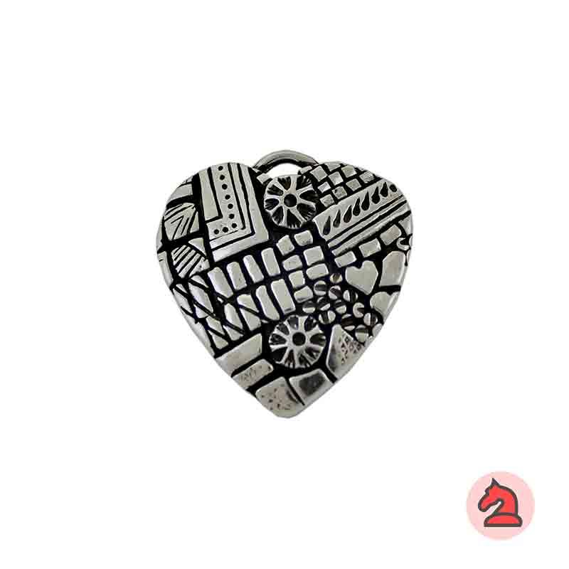 Colgante corazón 36X34 mm. Anilla 6X3 mm - Paquete de 10 unidades