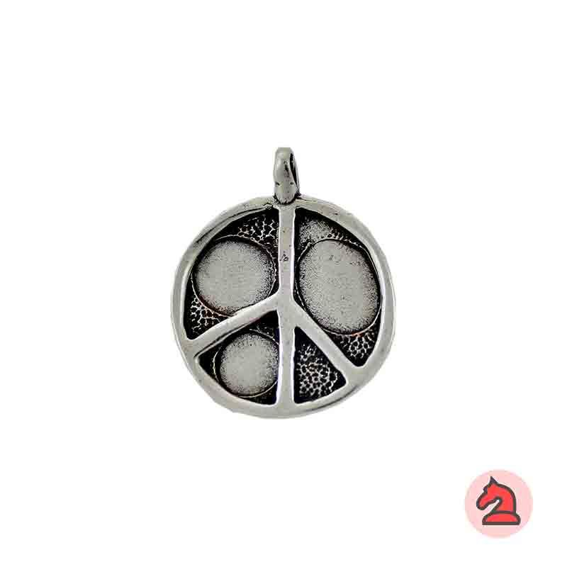 Colgante símbolo de la paz 31 mm. Anilla 4 mm - Paquete de 10 unidades