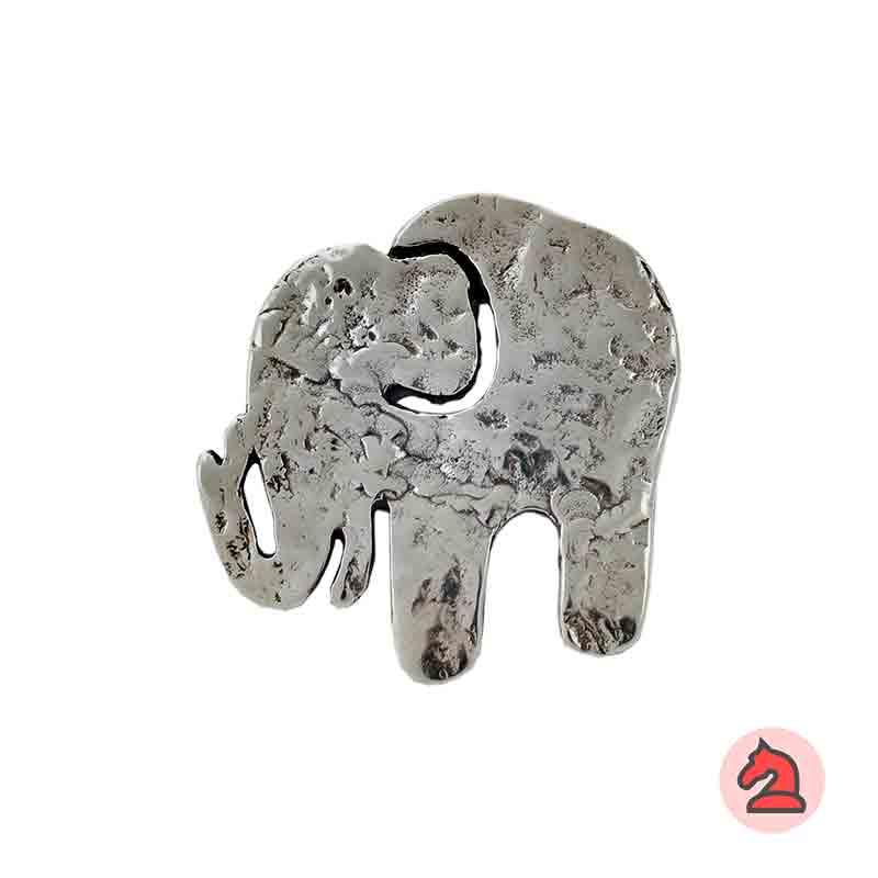 Colgante elefante martillado 57X54 mm. Anilla de 4mm - Venta en bolsa de 10 uds