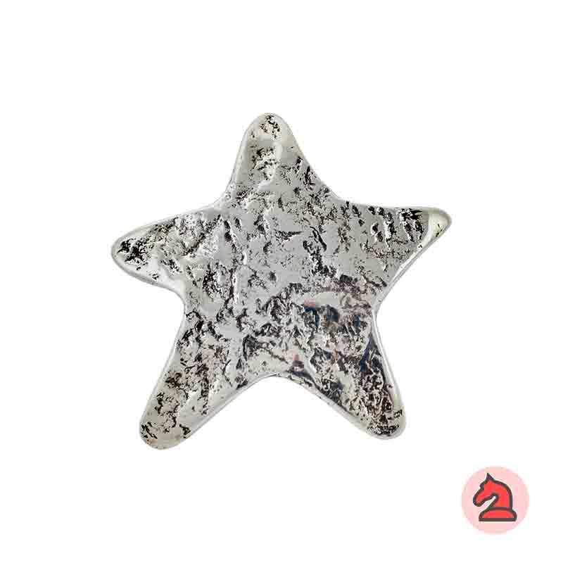 Colgante estrella martillada 51x47 mm. Anilla de 4mm - Venta en bolsa de 10 uds