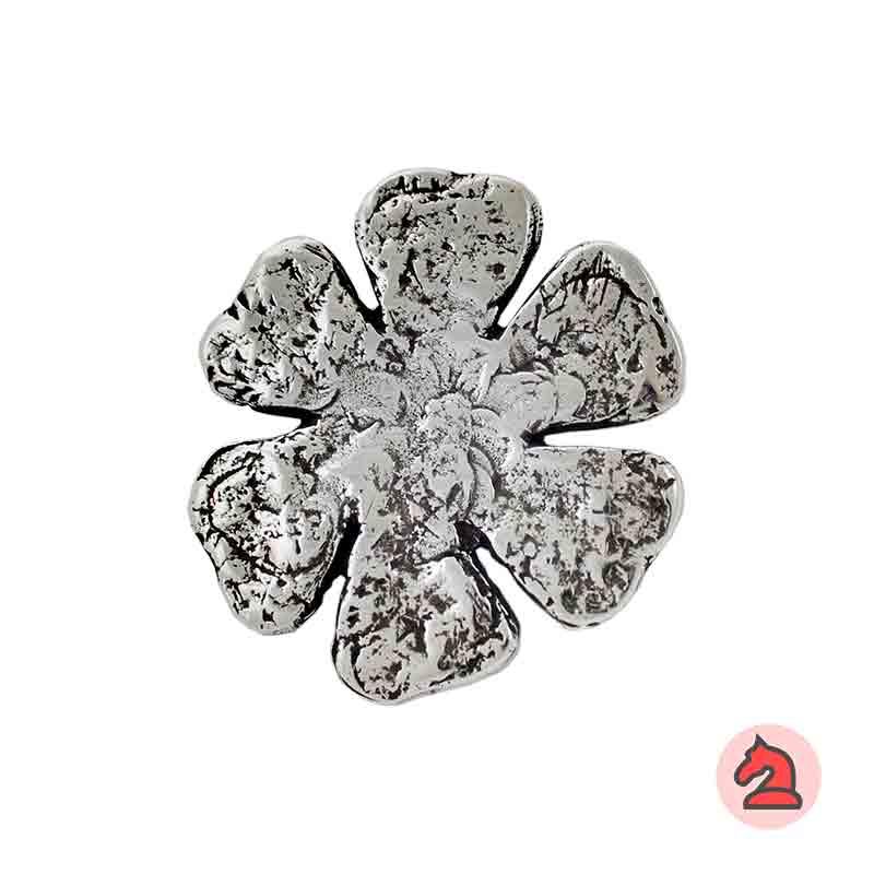 Colgante flor martillada 51x47 mm. Anilla de 4mm - Venta en bolsa de 10 uds