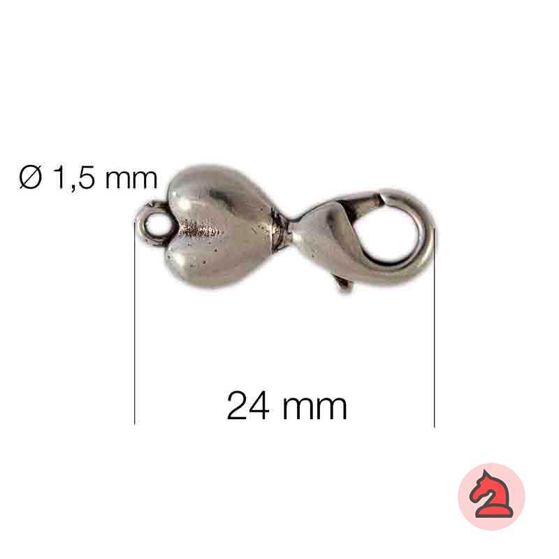 Cierre mosquetón-corazón - Venta en bolsa de 20 unidades