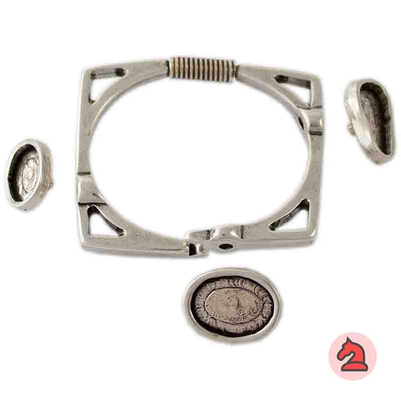 Pulsera muelle cuadrada - Paquete de 5 unidadesPara adornar con 3 resinas bases planas: 1 gota, 1 de 18X13 mm y 1 de 14X10 mm