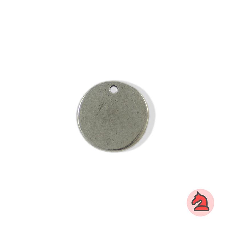 Chapa personalizable redonda 22 - Paquete de 30 unidadesTamaño aproximado 22 mm, grosor: 1.7 mm, agujero para cordón 2 mm